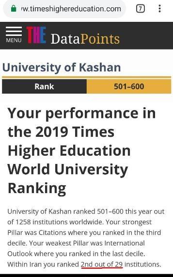 رتبه دوم دانشگاه کاشان در نظام رتبهبندی تایمز