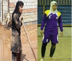 سهیلا لرستانی بهترین بازیکن فوتبال ساحلی بانوان ایران در حال کمک به سیلزدگان پلدختر