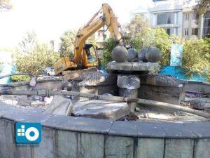 تخریب نماد سابق میدان امام حسین یا فلکه فین کاشان
