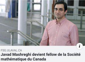 دکتر جواد مشرقی فلوی انجمن ریاضی کانادا شد