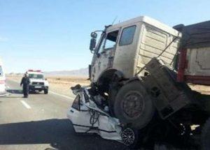 یک کشته و هفت مصدوم در اثر تصادف خودرو تیبا با تریلی
