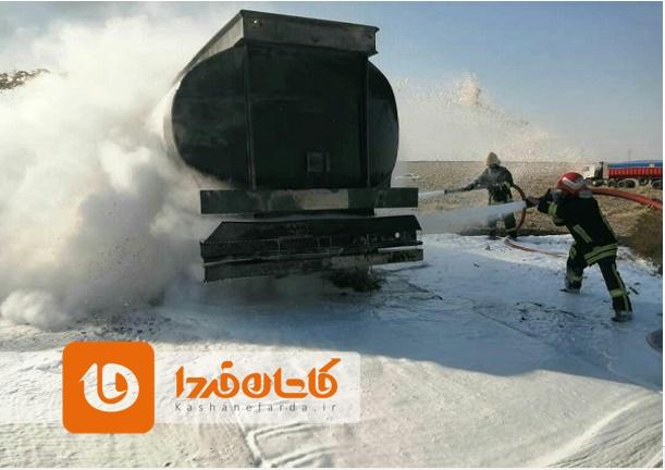 مهار آتشسوزی تانکر حامل گازوئیل در جاده کاشان نطنز3